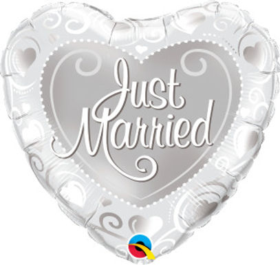 """Just Married Hearts Silver 18"""" Foil Balloon"""