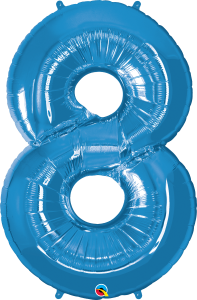 """Blue 34"""" Foil Number 8 Balloon Helium Filled"""