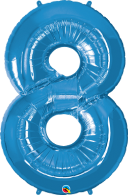 "Blue 34"" Foil Number 8 Balloon Helium Filled"