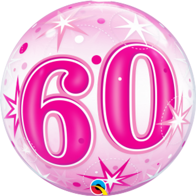 60 Pink Starburst Sparkle Bubble Balloon