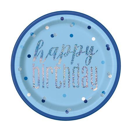 Glitz Blue Birthday Plates