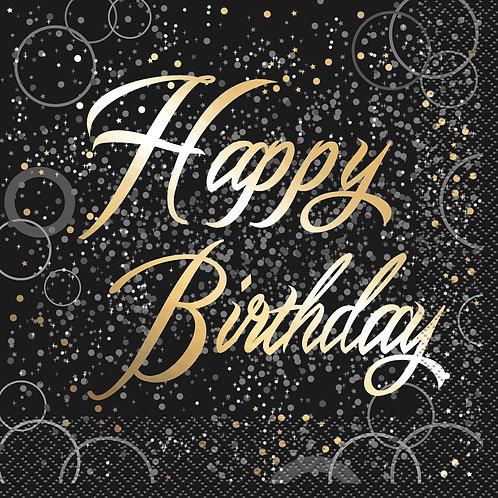 Happy Birthday Black & Gold Napkins