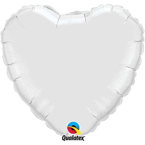 White 18 inch Heart Foil Balloon