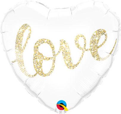 "Love Glitter Gold 18"" Foil Balloon"
