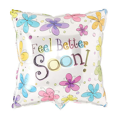 """18"""" Get Well Soon Square Balloon"""