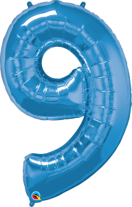"""Blue 34"""" Foil Number 9 Balloon Helium Filled"""