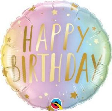 "Birthday Pastel Ombre & Stars 18"" Foil Balloon"