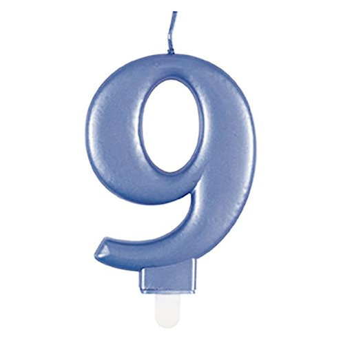 Blue Number 9 Candle