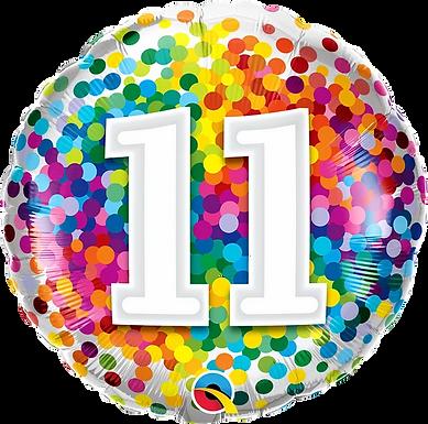 "11 Rainbow Confetti 18"" Foil Balloon"