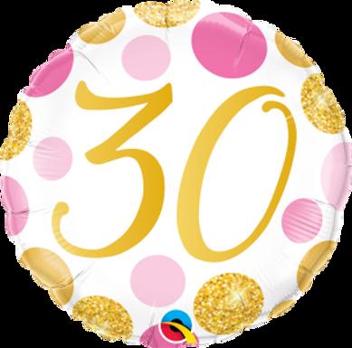 "30 Pink & Gold Dots 18"" Foil Balloon"