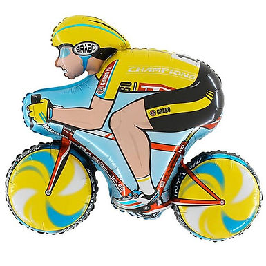 Cyclist Yellow Shape Foil Balloon Helium filled