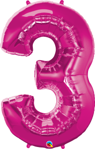 "Pink 34"" Foil Number 3 Balloon"