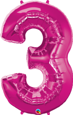"""Pink 34"""" Foil Number 3 Balloon Helium Filled"""