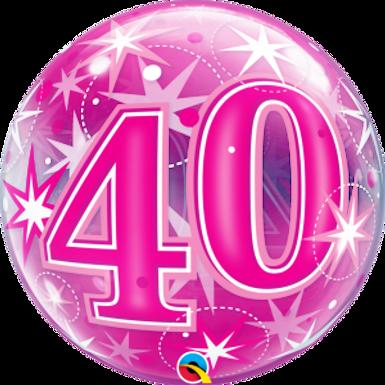 40 Pink Starburst Sparkle Bubble