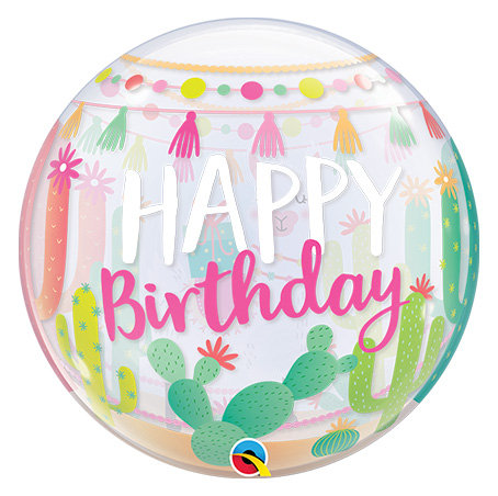 Happy Birthday Cactus Bubble Balloon