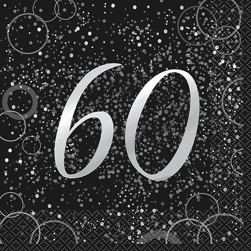 Black & Silver Age 60 Napkins