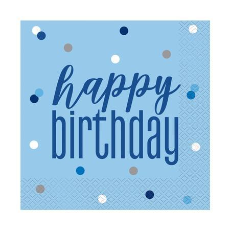 Glitz Blue Birthday Napkins