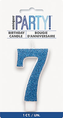 Glitz Blue Glitter Number 7 Candle