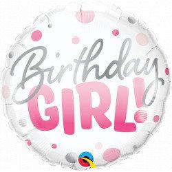 "Birthday Girl Pink Dots 18"" Foil Balloon Helium"