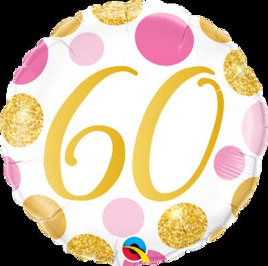 "60 Pink & Gold Dots 18"" Foil Balloon"
