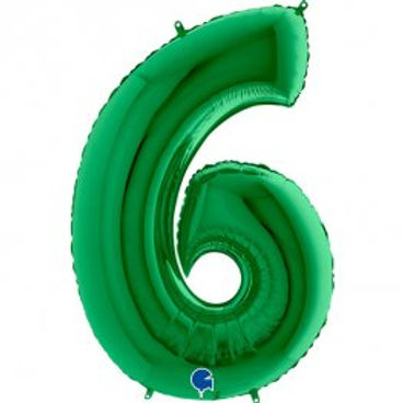 """Green 40"""" Foil Number 6 Balloon Helium Filled"""