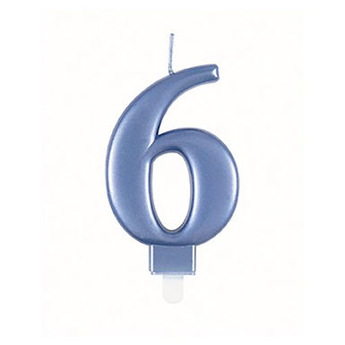 Blue Number 6 Candle