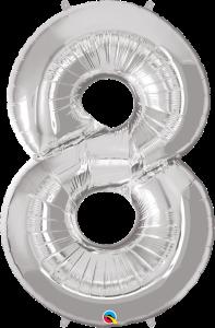 "Silver 34"" Foil Number 8 Helium Filled"