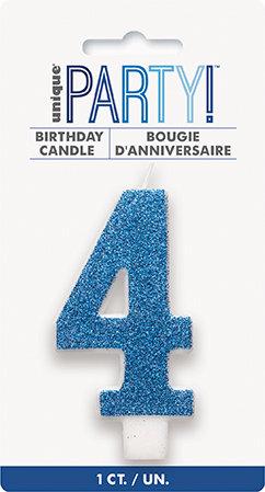 Glitz Blue Glitter Number 4 Candle