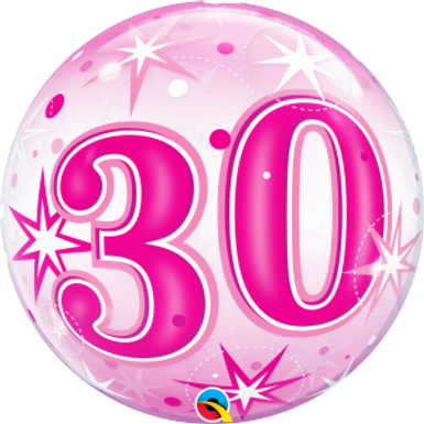 30 Pink Starburst Sparkle Bubble