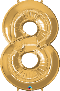 """Gold 34"""" Foil Number 8 Balloon Helium Filled"""