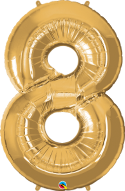 "Gold 34"" Foil Number 8 Balloon Helium Filled"