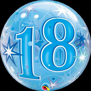 18 Blue Starburst Sparkle Bubble
