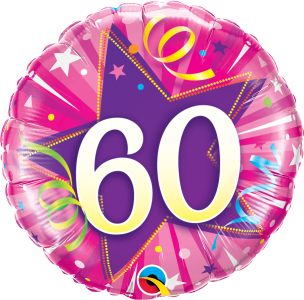 "60 Shining Star Hot Pink 18"" Foil Balloon"