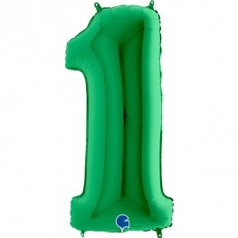 """Green 40"""" Foil Number 1 Balloon Helium Filled"""
