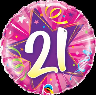 "21 Shining Star Hot Pink 18"" Foil Balloon"