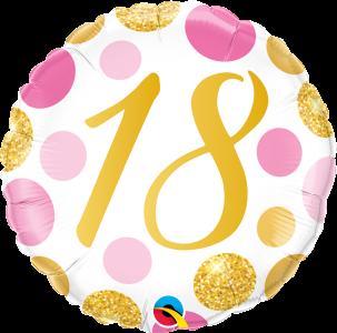"18 Pink & Gold Dots 18"" Foil Balloon"