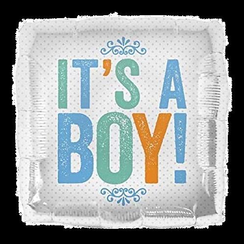 """It's A Boy 18"""" Square Foil Balloon"""
