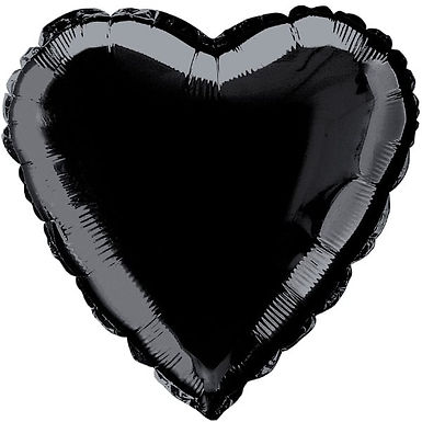 Black 18 inch Heart Foil Balloon