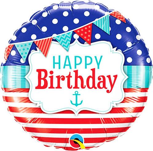 "Birthday Nautical & Pennants 18"" Foil Balloon"