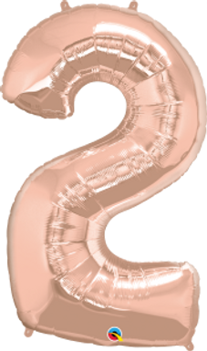 """Rose Gold 34"""" Foil Number 2 Balloon Helium Filled"""