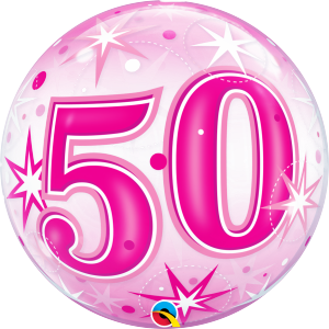 50 Pink Starburst Sparkle Bubble Balloon