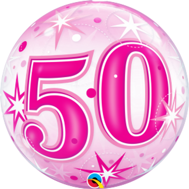 50 Pink Starburst Sparkle Bubble Balloon