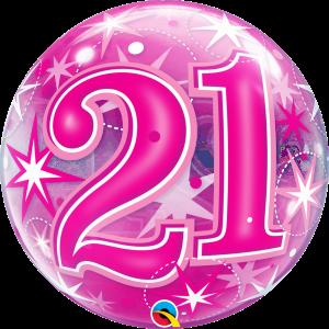 21 Pink Starburst Sparkle Bubble