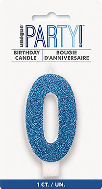 Glitz Blue Glitter Number 1 Candle