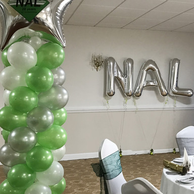 Custom printed spiral column and large letter balloons