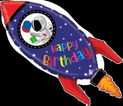 "Birthday Rocket 40"" Foil Balloon"