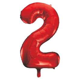 """Red 34"""" Foil Number 2 Balloon Helium Filled"""