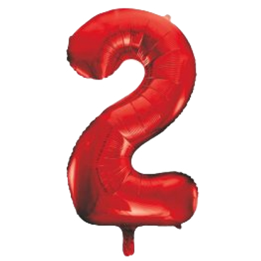 "Red 34"" Foil Number 2 Balloon Helium Filled"