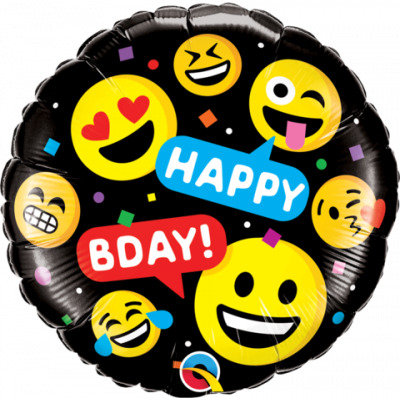 Happy Bday Emoji foil balloon