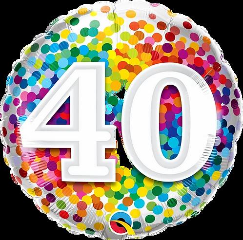 "40 Rainbow Confetti 18"" Foil Balloon"
